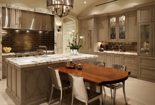 Contemporary Kitchen with Glass panel, Subway Tile, Daltile urban metals bronze 3x6 wall tile, L-shaped, Breakfast nook