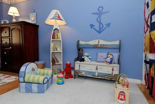 Traditional Kids Bedroom with Boat Anchor Wall Decal, interior wallpaper, Hardwood floors
