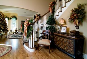 Traditional Entryway with Kay Burkart Design Father Christmas - Made to Order, Hardwood floors, Paint, Christmas decor