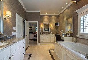 Traditional Master Bathroom with Wall sconce, Master bathroom, Oregon Tile & Marble Crema Marfil Marble Tile, Crown molding