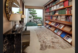 Eclectic Library with Carpet, Built-in bookshelf