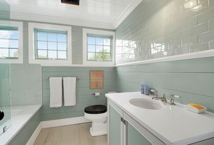 Traditional Full Bathroom with Wainscotting, Hardwood floors, Crown molding, frameless showerdoor, Undermount sink, Flush
