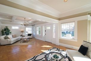 Traditional Living Room with specialty door, Crown molding, Hardwood floors, Box ceiling, Chandelier, double-hung window