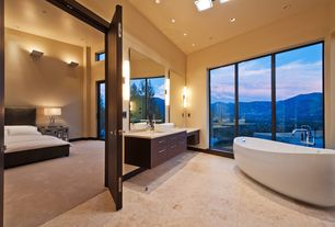 Contemporary Master Bathroom with MS International Jania Cream Limestone, Master bathroom, Pendant light, High ceiling