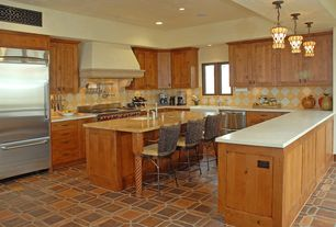 Eclectic Kitchen with Pendant light, Farmhouse sink, slate tile floors, Flush, Flat panel cabinets, U-shaped, Breakfast bar