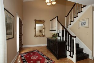 Traditional Staircase with High ceiling, Chandelier, Laminate floors