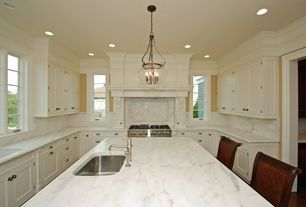Traditional Kitchen with double oven range, Inset cabinets, U-shaped, Simple Marble, Undermount sink, full backsplash