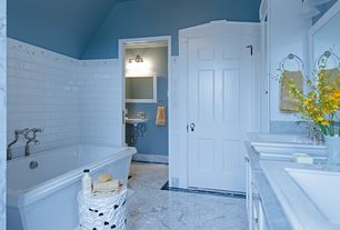 Traditional Master Bathroom with Color collection bright snow white 3 in. x 6 in. ceramic wall tile, Paint 1