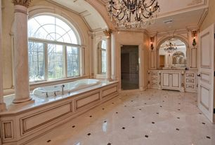 Traditional Master Bathroom with Flush, Columns, Crown molding, High ceiling, Wall sconce, specialty door, Master bathroom