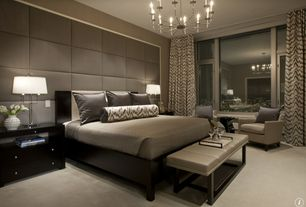 Contemporary Master Bedroom with Manhattan Tan and Stainless Steel Leather Bench, Robert Abbey Delany Chandelier, Chandelier