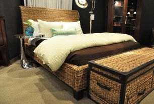 Tropical Master Bedroom with Carpet, Home Styles Cabana Banana Queen Panel Headboard, Ibolili Rattan Chest, Floor lamp