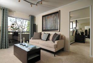 Contemporary Living Room with York Sofa, flush light, Crown molding, Carpet, Track lighting