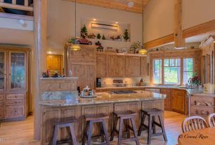 "Kitchen with Wine refrigerator, Flat panel cabinets, Undermount sink, Sunny designs - sedona 24"" bar stool, Breakfast nook"