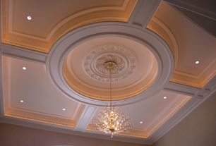 Traditional Living Room with Decorative ceiling, Rainbow of Light Floral Collection Lighting, Chandelier, High ceiling