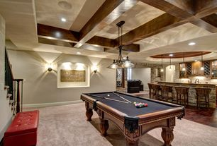 Traditional Game Room with Wall sconce, Exposed beam, Pendant light, Minka lavery belcaro kitchen island pendant, Carpet