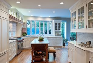 Traditional Kitchen with L-shaped, Undermount sink, Inset cabinets, Simple marble counters, Simple Marble, Kitchen island