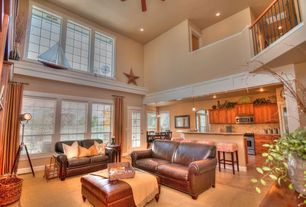 Country Great Room with Ceiling fan, can lights, Built-in bookshelf, Carpet, sandstone tile floors, Pendant light, Paint 1
