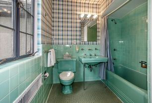 Eclectic Full Bathroom with tiled wall showerbath, interior wallpaper, Wall mounted sink, Northwoods Lodge Wallpaper