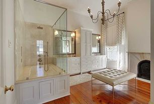 Contemporary Master Bathroom with specialty door, Limestone counters, Double sink, Limestone, Master bathroom, Inset cabinets