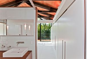 Contemporary Master Bathroom with Vessel sink, Pendant light, Exposed beam, Master bathroom, Wood counters, stone tile floors