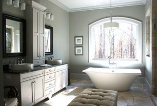 Traditional Master Bathroom with Crown molding, Flat panel cabinets, Flush, Pendant light, Soapstone, Pental black soapstone
