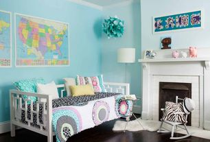 Contemporary Kids Bedroom with Crown molding, Hardwood floors