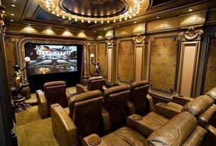 Traditional Home Theater with flush light, Wainscotting, interior wallpaper, Crown molding, Carpet