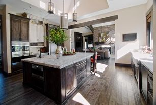 Craftsman Kitchen with double wall oven, Pendant light, full backsplash, Kitchen island, Complex granite counters, U-shaped