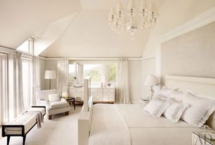 Traditional Master Bedroom with Carpet, Chair rail, French doors, Chandelier, Window seat, Built-in bookshelf, High ceiling