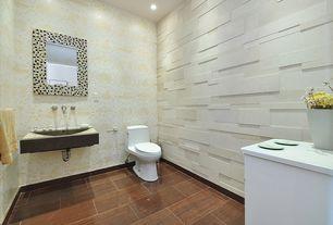 Modern Powder Room with Undermount bathroom sink, Powder room, interior wallpaper, Standard height, can lights
