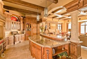Mediterranean Kitchen with L-shaped, limestone tile floors, Paint, Columns, built-in microwave, gas range, Pendant light