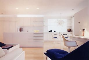 Modern Great Room with Knoll - Womb Chair, Galley kitchen, Knoll Tulip Arm Chair, Built-in bookshelf, Chandelier
