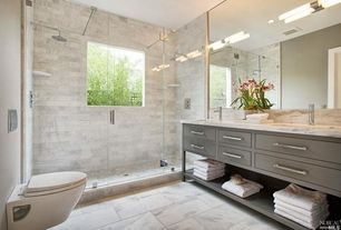Contemporary Master Bathroom with Complex Marble, Double sink, complex marble tile floors, Rain shower, Dual shower heads