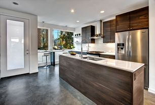 Modern Kitchen with Flush, Simple granite counters, French doors, Pendant light, Breakfast bar, Ceramic Tile, L-shaped