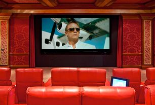 Traditional Home Theater with Rialto LT Home Theater Seats, Crown molding, Box ceiling, interior wallpaper, Carpet
