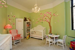 Traditional Kids Bedroom with Land of Nod Parker Play Chair White, Mural, Koala Baby Cherry Blossom Wall Art Kit, Carpet