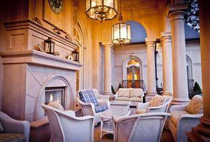 Traditional Patio with Arched window, exterior concrete tile floors, exterior tile floors, Wrap around porch, Casement