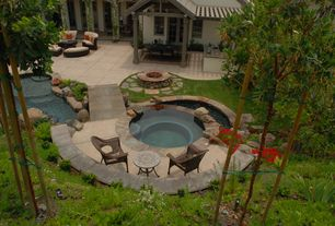 Rustic Patio with Pond, Outdoor kitchen, Fire pit, exterior stone floors, French doors, Pathway