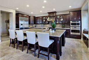 Traditional Kitchen with Raised panel, slate tile floors, Polished marble floor tile, Flush, Window seat, Glass panel