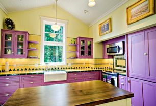Eclectic Kitchen with Talavera tile, electric range, Cathedral ceiling, Paint 1, InlaysSafety Edge Tile, Non-Skid, Black