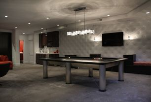 Contemporary Game Room with Built-in bookshelf, Chandelier, Pendant light, Carpet