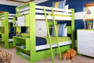 Contemporary Kids Bedroom with Nurseryworks Duet Bunk Bed with Drawers, ducduc Austin 4 Drawer Dresser, Crown molding, Carpet