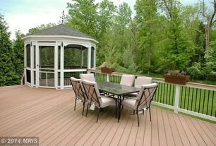 Contemporary Deck with French doors, Arched window, Gazebo, Raised beds