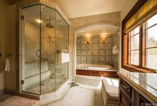 Master Bathroom with Standard height, Limestone counters, Wall sconce, Rain shower, Flat panel cabinets, can lights, Paint 1