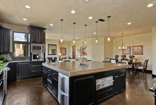 Craftsman Kitchen with Travertine counters, Feiss Kelham Hall 1 Light Mini Pendant, gas range, full backsplash, L-shaped