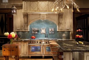 Eclectic Kitchen with Custom hood, Ms international capalavoro granite, One-wall, Herringbone Tile, Flat panel cabinets