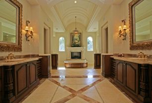 Traditional Master Bathroom with can lights, Raised panel, Onyx counters, stone tile floors, Bathtub, Flush, Pendant light