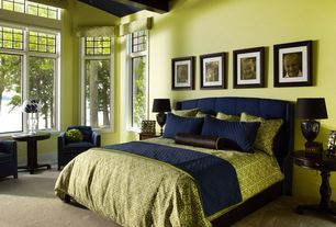 Traditional Master Bedroom with Built-in bookshelf, Exposed beam, Carpet, Standard height, specialty window
