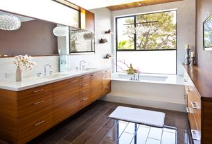 Contemporary Master Bathroom with European Cabinets, Double sink, Glacier white corian, Corian counters, interior wallpaper