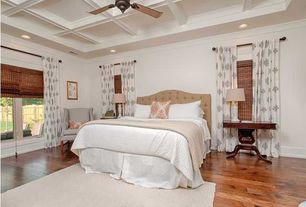 Traditional Master Bedroom with Ceiling fan, Hardwood floors, Box ceiling